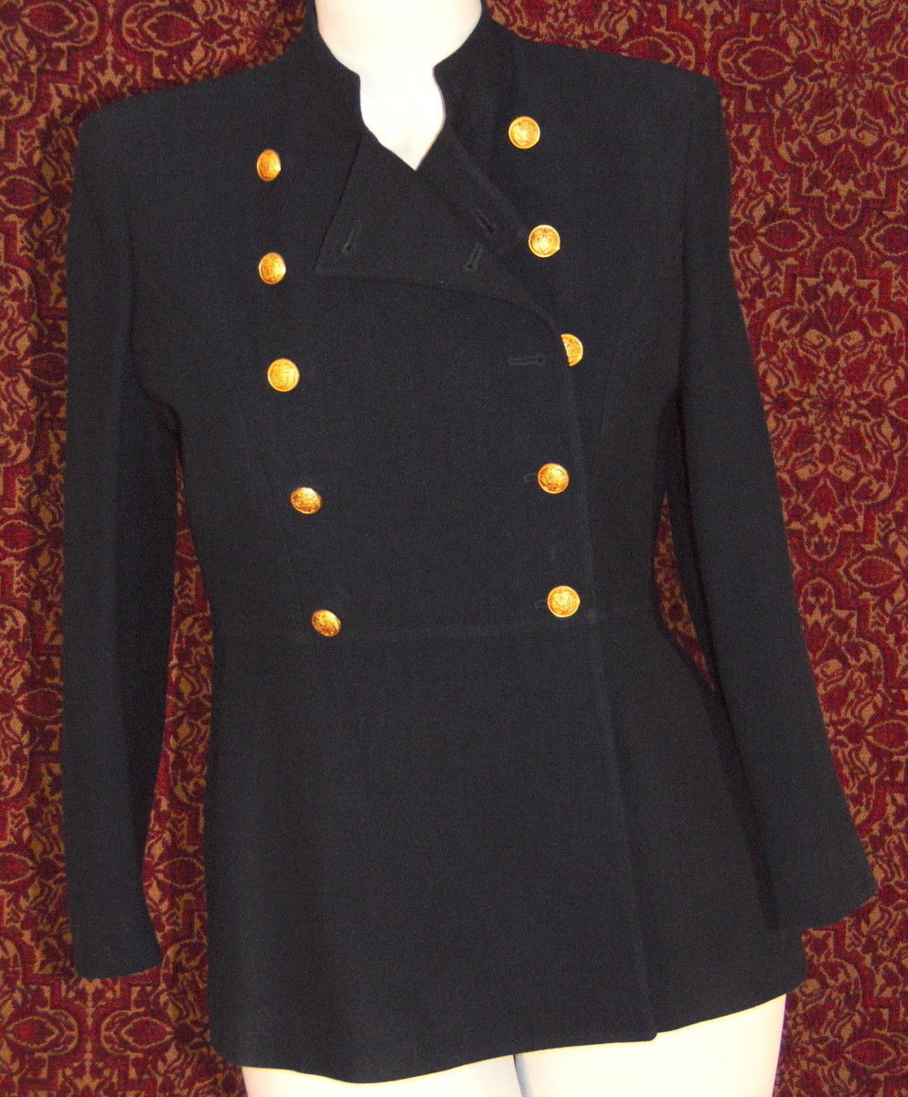 RALPH LAUREN Navy double breasted military band style jacket 12P (TC1-04I8G)