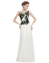 White Chiffon Long Prom Dress With Black Lace Applique - $105.00