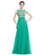 Green Sleeveless Tulle Prom Dress With Gold Accents - $105.00