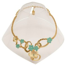 Karine Sultan Enameled Leaf Collar Statement Necklace Gold or Silver From France - $77.95