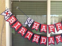 Nautical Happy Birthday Banner Party Supplies Anniversary Baby Shower Ha... - $30.00