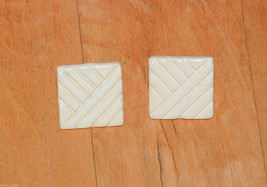 vintage ceramic square pierced earrings yellow - $1.97