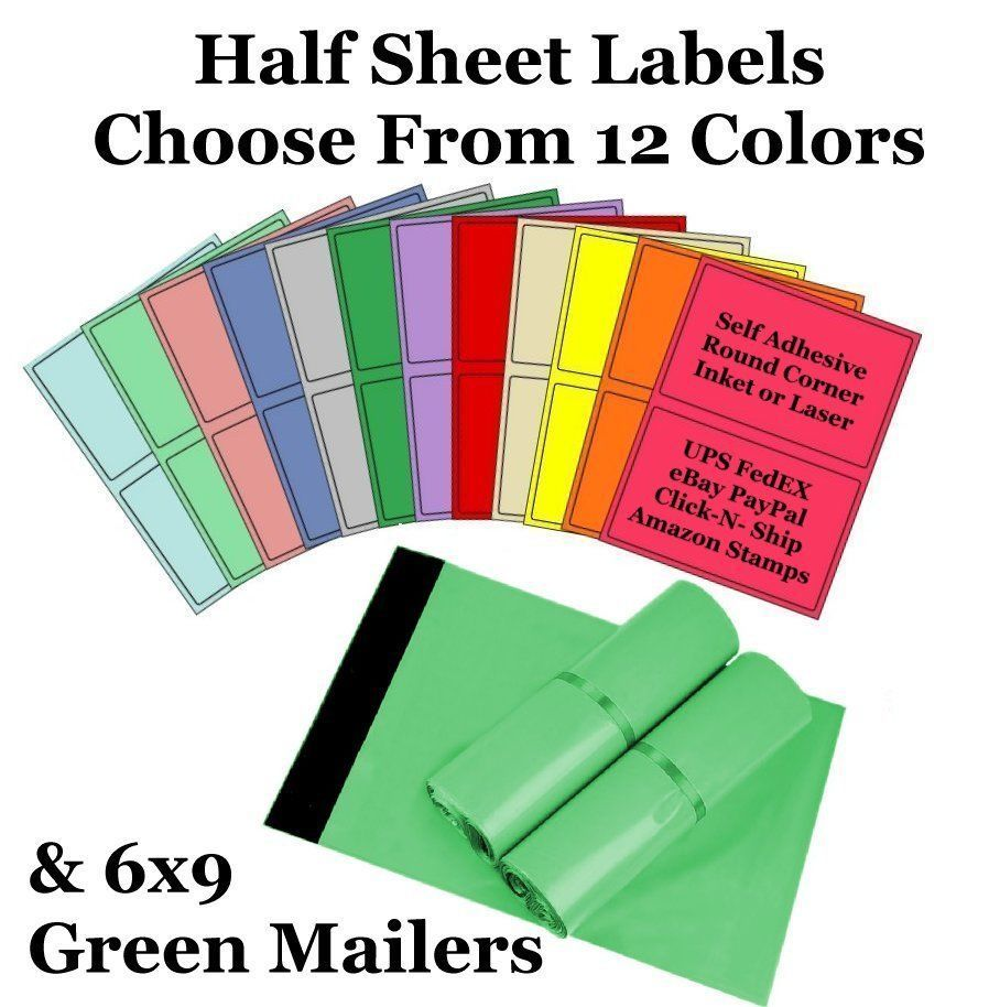 6x9 ( Green ) Poly Mailers + Colored Half Sheet Self Adhesive Shipping Labels