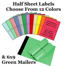 6x9 ( Green ) Poly Mailers + Colored Half Sheet Self Adhesive Shipping L... - $1.99+