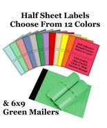6x9 ( Green ) Poly Mailers + Colored Half Sheet Self Adhesive Shipping L... - $2.99+