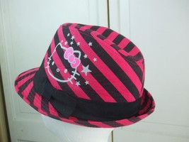 Hello Kitty Fedora Hat by Sanrio Red Back Stripes with Cat Stars Design Size S/M - $4.95