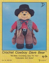 Cowboy Dave Bear, Td Creations Crochet Toy Doll Pattern Booklet BER-765 - $2.95