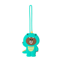 LINE FRIENDS Character Silicon Luggage Name Tag DINO BROWN Official Goods - $24.74