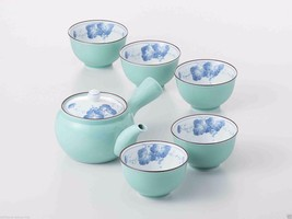 [SUPER SALE] Arita-yaki Porcelain: Grape B - Kyusu Tea pot & 5 tea cup S... - $108.45