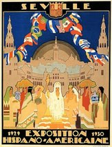 1929 SEVILLE SPANISH AMERICAN EXPOSITION COUNTRIES FLAGS SPAIN LARGE VIN... - £12.40 GBP
