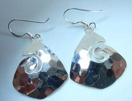 Hammered Triangular Curl Dangle Earrings 925 Sterling Silver Corona Sun ... - $77.50