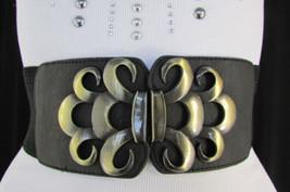 "New Women Hip Waist Elastic Black Fashion Belt Floral Gold Buckle 26""-37... - $9.59"