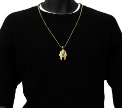 Pharaoh Piece Charm Micro Pendant Ball Chain Necklace Jewelry Gold Plated - $11.78