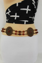 Women Fabric Tie Belt Hip High Waist Brown Flowers Metal Chain Beads Fas... - $14.69