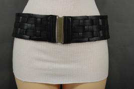 Women Elastic Black Braided Belt Antique Gold Buckle Hip Waist Faux Leat... - $15.67
