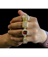 Mens 14K Gold Plated Hip Hop Iced Out Cz 4 Rings Bundle Set Size 7 8 9 1... - $25.99