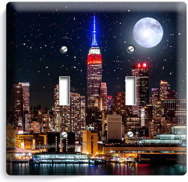 Primary image for MANHATTAN EMPIRE STATE BUILDING STARRY NIGHT DOUBLE LIGHT SWITCH WALLPLATE DECOR