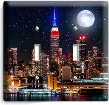MANHATTAN EMPIRE STATE BUILDING STARRY NIGHT DOUBLE LIGHT SWITCH WALLPLA... - $10.79