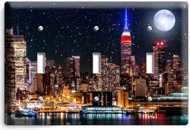 MANHATTAN EMPIRE STATE BUILDING STARRY NIGHT TRIPLE LIGHT SWITCH WALLPLA... - $14.57