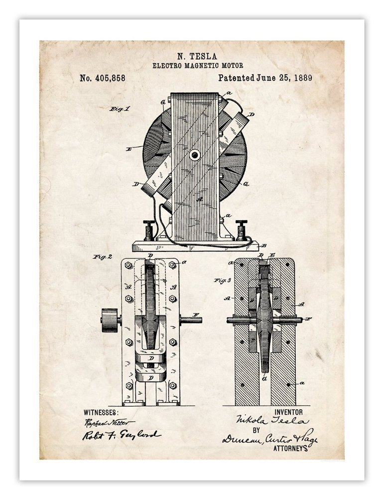 Tesla electric motor invention poster 1889 patent print for History of tesla motors