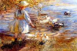"""AT THE DUCK POND CHILD PLAYING BY DOROTHEA SHARP ON IMAGE SIZE 16"""" X 24""""... - $47.53"""