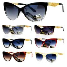 SA106 Metal Diecut Floral Jewel Arm Cat Eye Sunglasses - $12.95