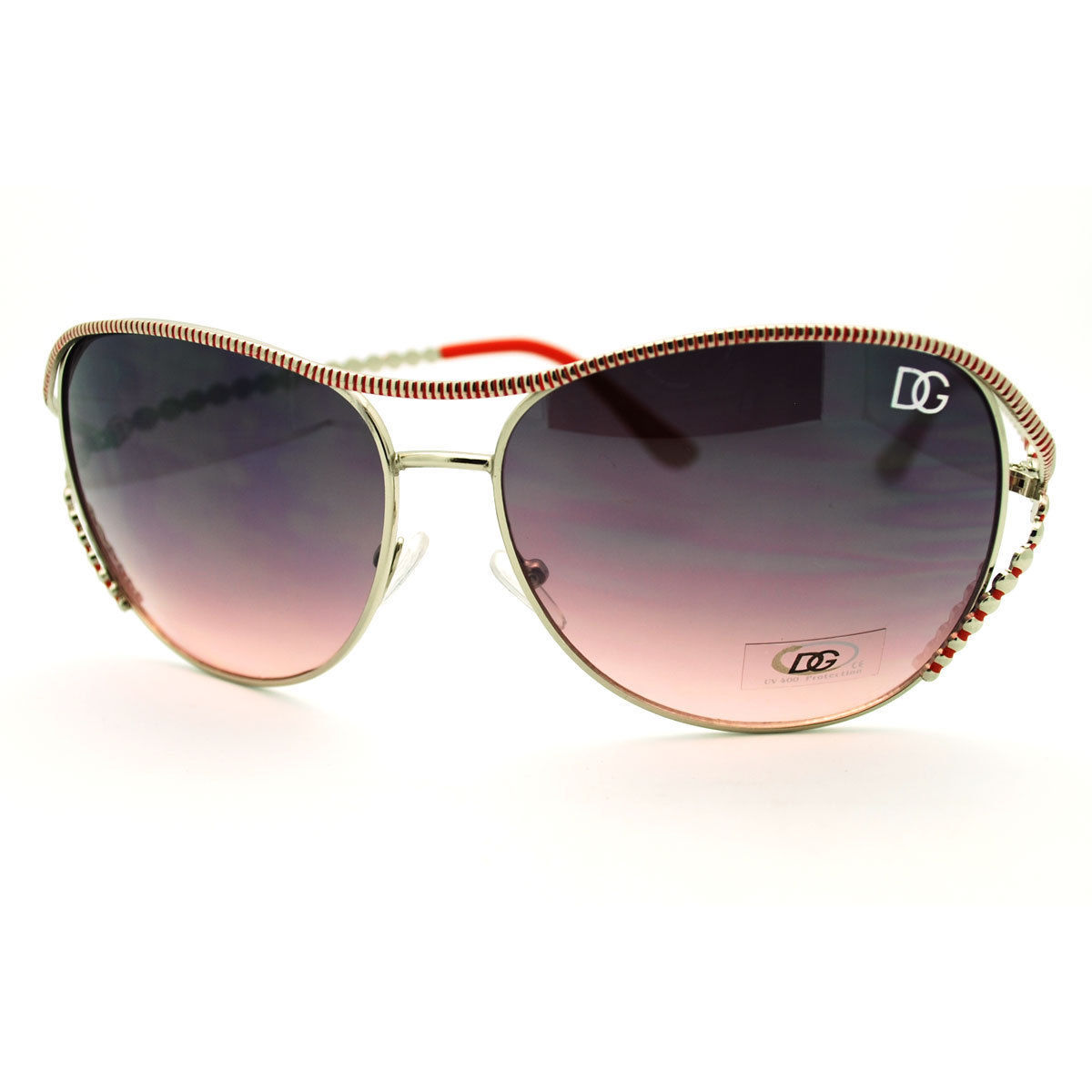 Womens Oversized Round Sunglasses Stylish Unique Metal Beaded Look