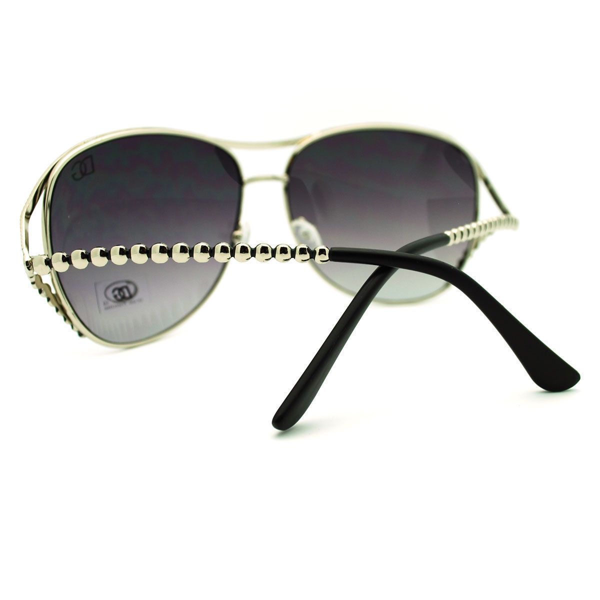 Womens Oversized Round Sunglasses Stylish Unique Metal Beaded Look