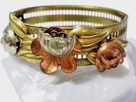 VINTAGE ARTSY MIXED METAL HINGED BRACELET FLOWERS TULIP BRASS COPPER FIL... - $20.00