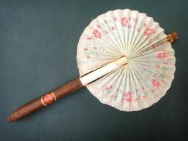 vintage CIGAR HAND FAN w/ HAVANA,AUSTRIA LABEL pull/pop-out fabric tobac... - $89.95