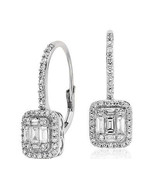 18K White Gold Halo Leverback Earrings 0.65cttw Round and Baguette (VS1-... - $1,152.84
