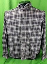 Classic Woolrich 2XL flannel shirt gray black plaid long sleeve 100% cotton - $26.50
