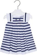 Mayoral Baby Girls 3M-24M Marino-Blue Pin Dot and Stripes Social Dress