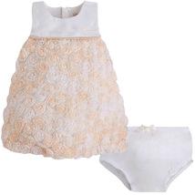Mayoral Baby Girls 0M-12M Off-White Bonaz Rosette Bubble Hem Social Dress