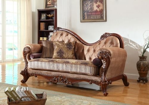 Meridian 605 Bordeaux Living Room Chaise in Beige Hand Carved Traditional Style