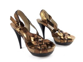 Michael Kors Women's Sandals Leather Gold/Bronze Platform Heels Shoes Sz 7.5 - $34.47