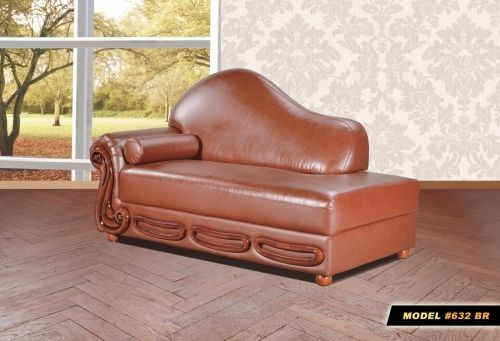 Meridian 632 Bonded Leather Living Room Chaise Brown Traditional Style