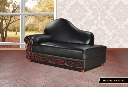 Meridian 632 Bella Living Room Chaise in Black Bonded Leather Traditional Style