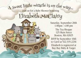 Noah's Ark Baby Shower invitation, Personalized, 1st Birthday, Custom, A... - $0.99