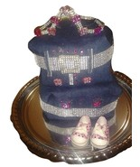 Denim & Bling Diaper Cake Baby Shower Centerpiece Gift with free shipping - $69.99