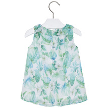 Mayoral Baby Girls 3M-24M Apple-Green White Ruffley Floral Chiffon Social Dress image 2