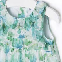 Mayoral Baby Girls 3M-24M Apple-Green White Ruffley Floral Chiffon Social Dress image 3