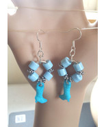 blue cowgirl earrings cowgirl boot charm dangles hoops beaded rodeo coun... - $4.99