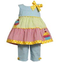 Bonnie Jean Little Girls Colorblock Sequine Cupcake Seersucker Dress/Pants Set