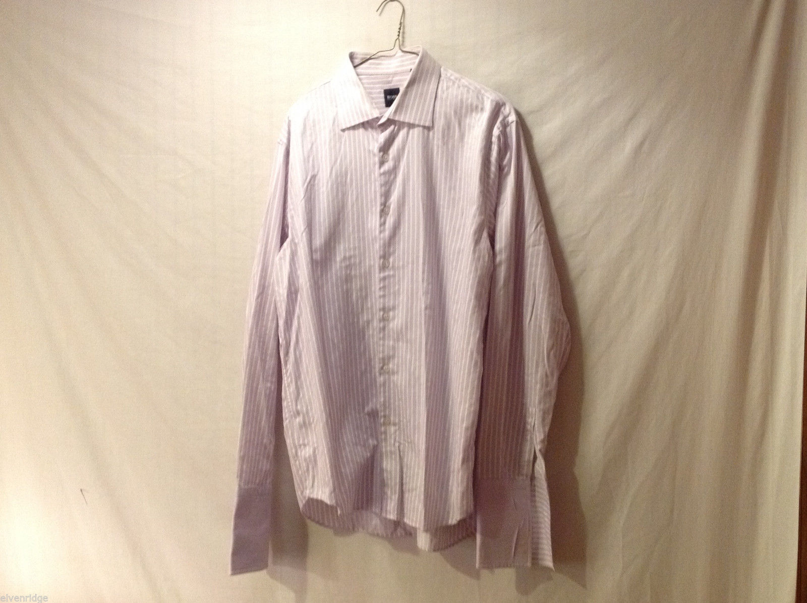 BOSS Men's Size XL Button-Down Dress Shirt w/ French Cuffs Pink & White Striped