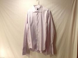 BOSS Men's Size XL Button-Down Dress Shirt w/ French Cuffs Pink & White Striped
