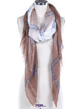 Women's Brown, Blue & White Plaid Sheer Woven Fringe Scarf - $10.95
