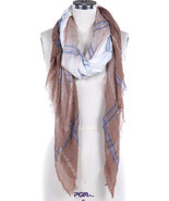 Women's Brown, Blue & White Plaid Sheer Woven Fringe Scarf - €9,54 EUR