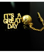Boss Tie tack Gift Its a GREAT day motivational VINTAGE Gold with chain ... - $75.00