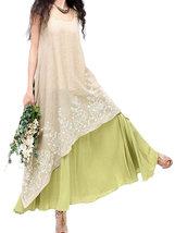 [allen1105] Women Elegant Lace Embroidery Linen High Low Maxi Dress (104... - $51.50